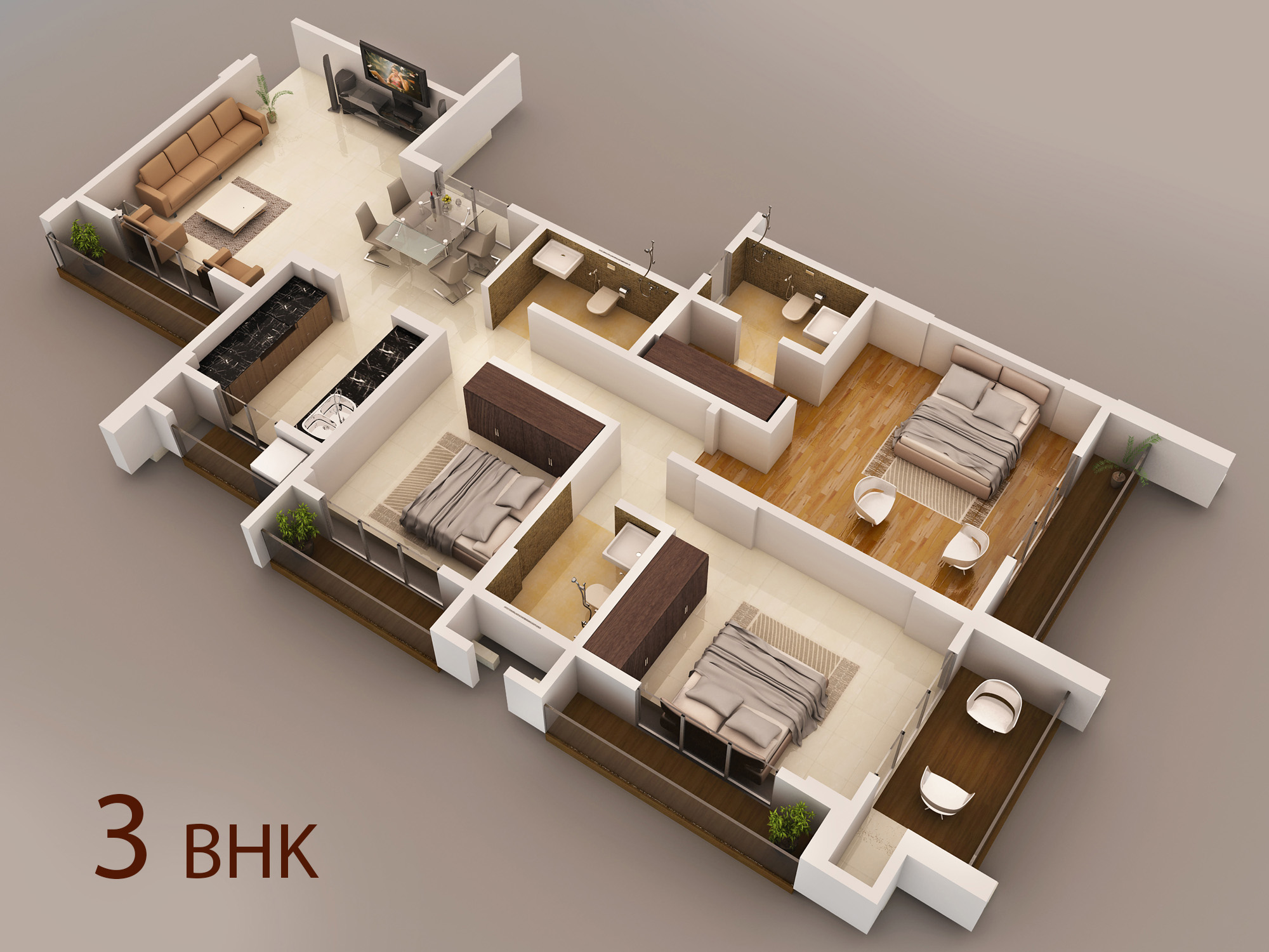 23 original home interior design for 3bhk flat for Best interior designs for 3 bhk flats